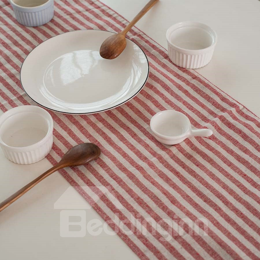Drapeau de table  Moderne et Simple à Franges Rayé en Coton