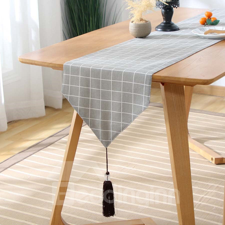 Drapeau de table Simple et Moderne à Carreaux en Coton