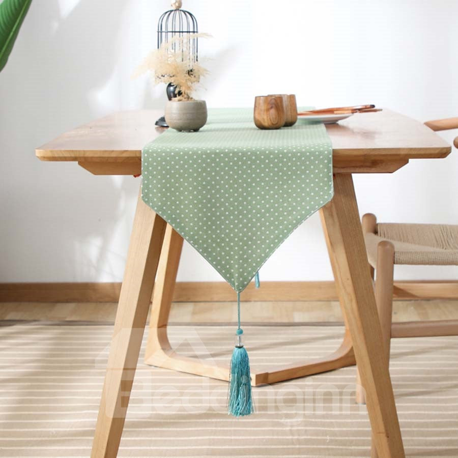 Drapeau de table Simple Imprimé Points Petits en Coton