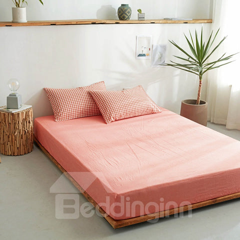 Drap housse Simple de Couleur Rose Orange Pur en Cton