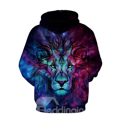 Sweat-shirt A Capuche Cool 3D Imprimé Lion Au Chagrin
