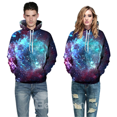 Sweat-shirt A Capuche Beau Galaxie Brillante 3D Imprimé