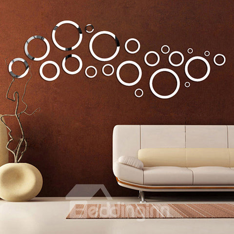 Sticker Mural 3D Cercles Simple Surface de Miroir