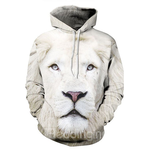 Sweat-shirt A Capuche Super Lion Blanc 3D Imprimé