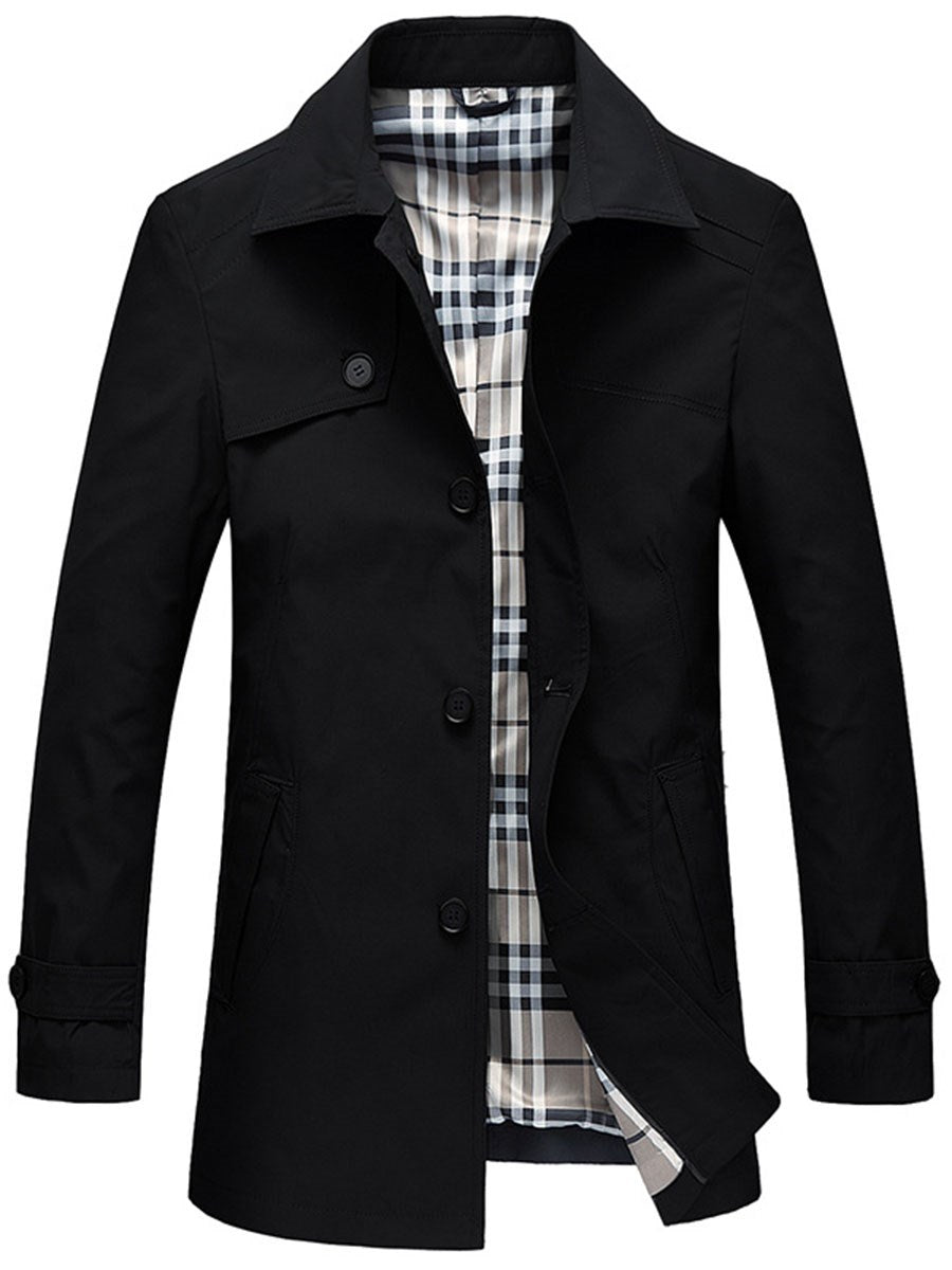 Trench Homme Revers Couleur Unie Mince