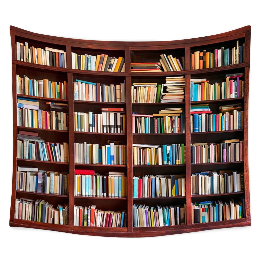 Library Neat Bookshelf with Books Study Room Scene Picture Art Print for Home Decoration Multicolor Tapestry 79x59Inch