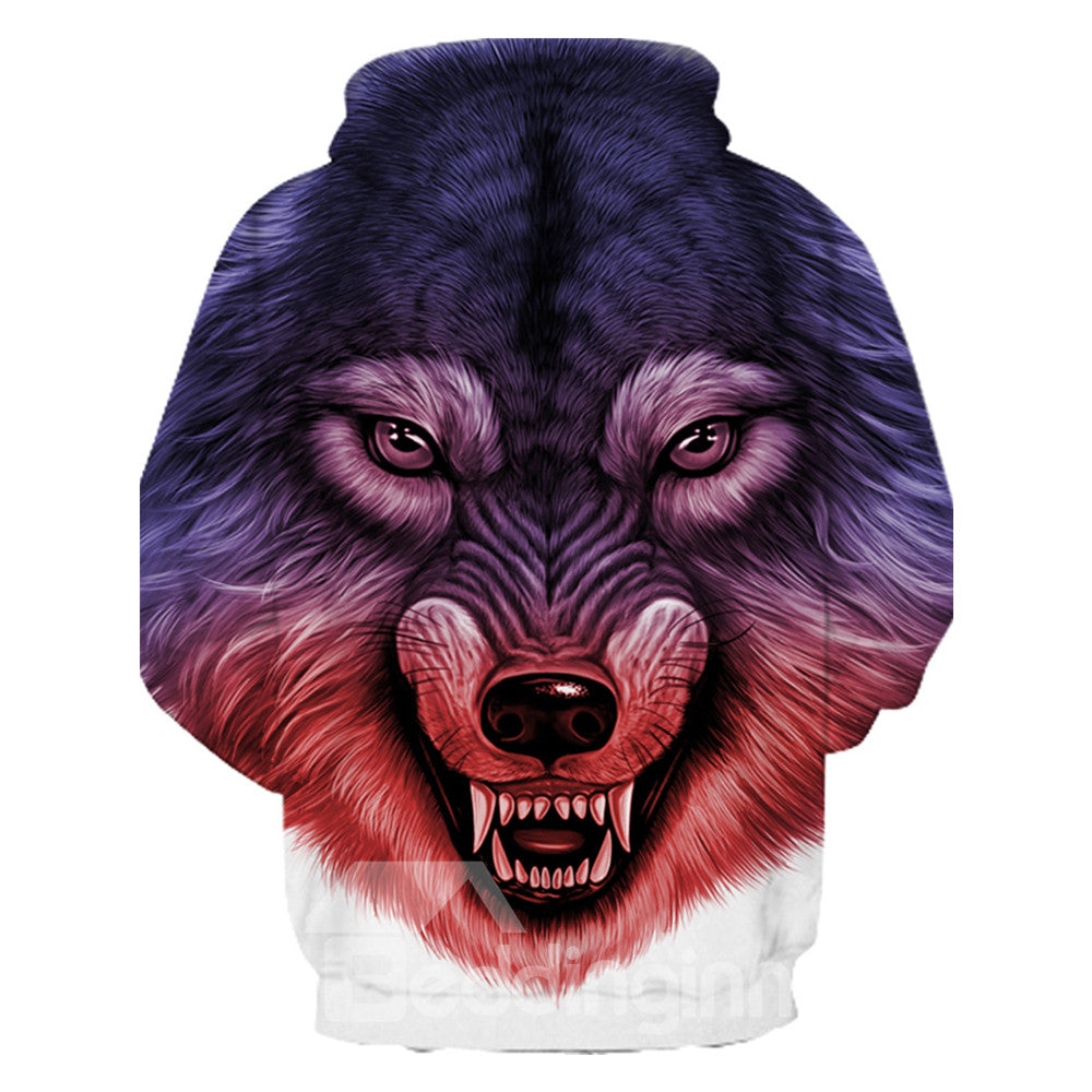 Sweat-shirt 3D à Capuche Imprimé Loup Fort