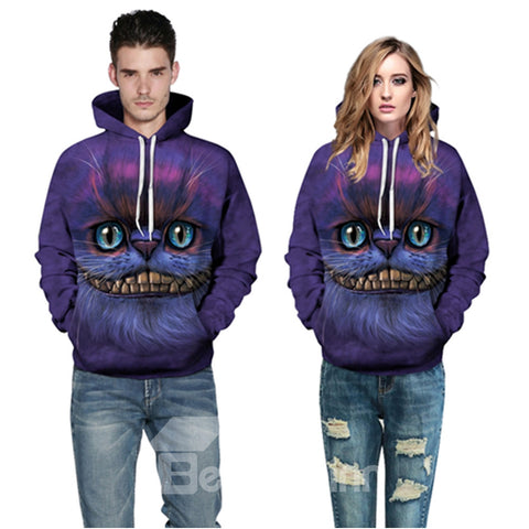 Cool Sweat-shirt A Capuche 3D Moderne Imprimé Face De Chat Créative
