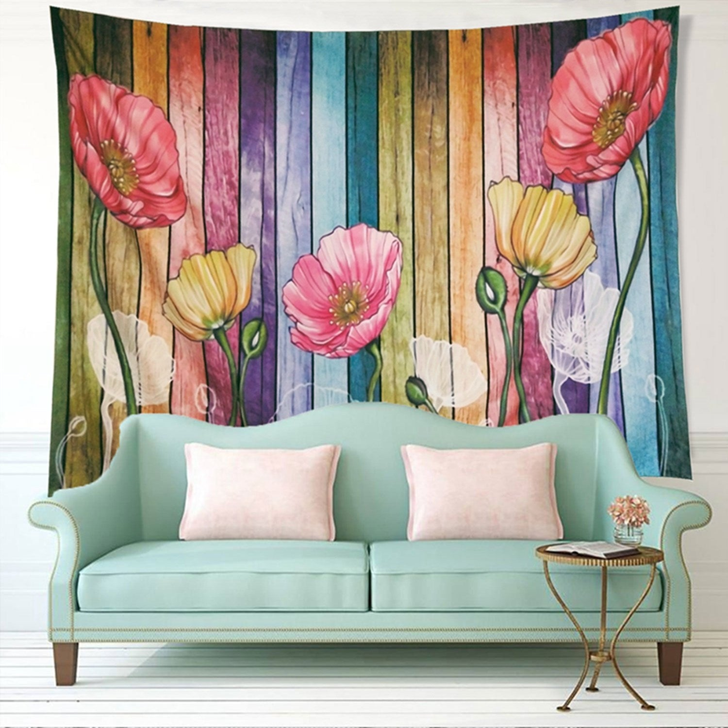 Retro Wood Plank Flower Colorful Tapestry Wall Hanging for Livingroom Bedroom Dorm Home Decor W79