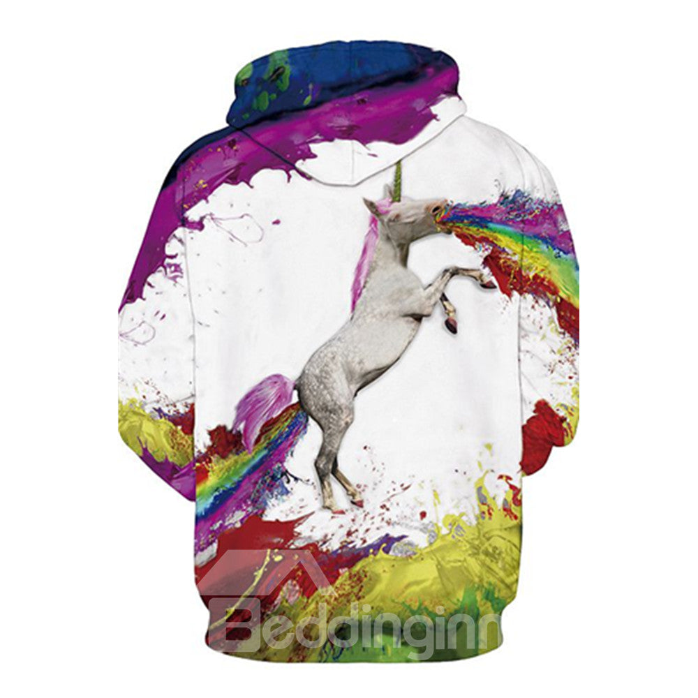 Sweat-shirt A Capuche Licorne D'art