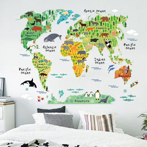 Créatif Sticker Chambre Enfant Waterproof DIY Design de Carte du Monde Animale