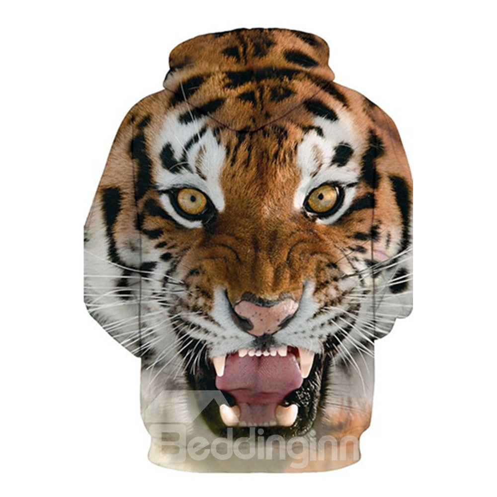 Sweat-shirt A Capuche Super Vivant Tigre En Attaque 3D Imprimé
