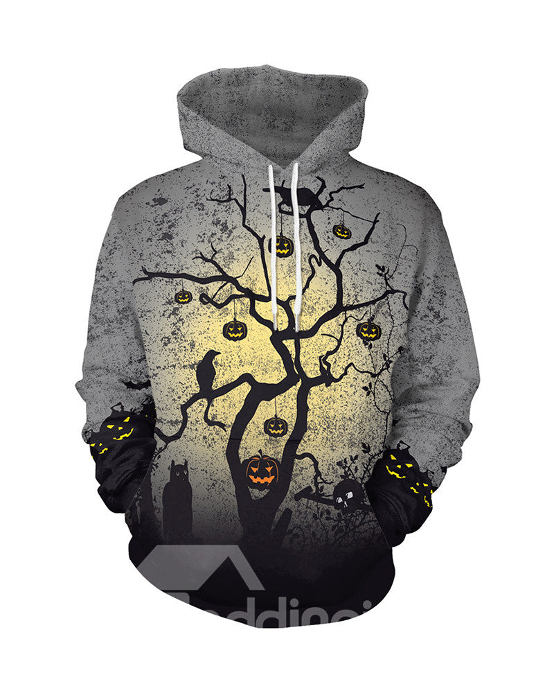 Sweat-shirt 3D à Capuche Imprimé Arbre et Citrouilles Horribles Halloween
