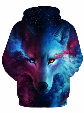 Sweat-shirt A Capuche 3D Seul Loup Multicolore Contempler Unisexe