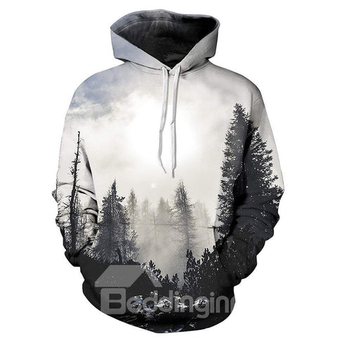 Unique Sweat-shirt A Capuche 3D Moderne Imprimé Arbre Grise