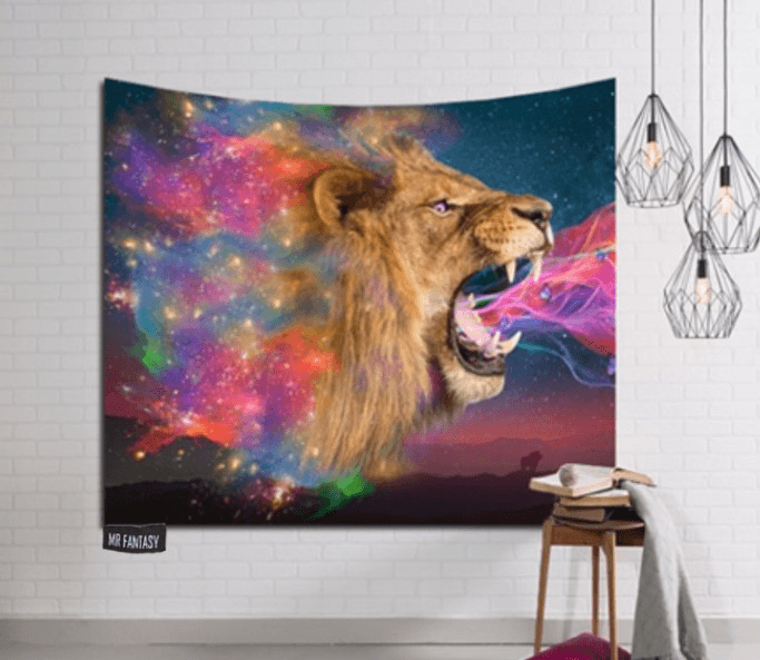Wall Hanging Lion Tapestry for Dorms (59 X 79 Inches,59 X 59 Inches,51 X 59 Inches)