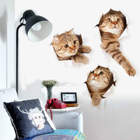 Fashion 3D Hole View Cats Wall Sticker Bathroom Living Room Kitchen Decoration Decals Art Sticker