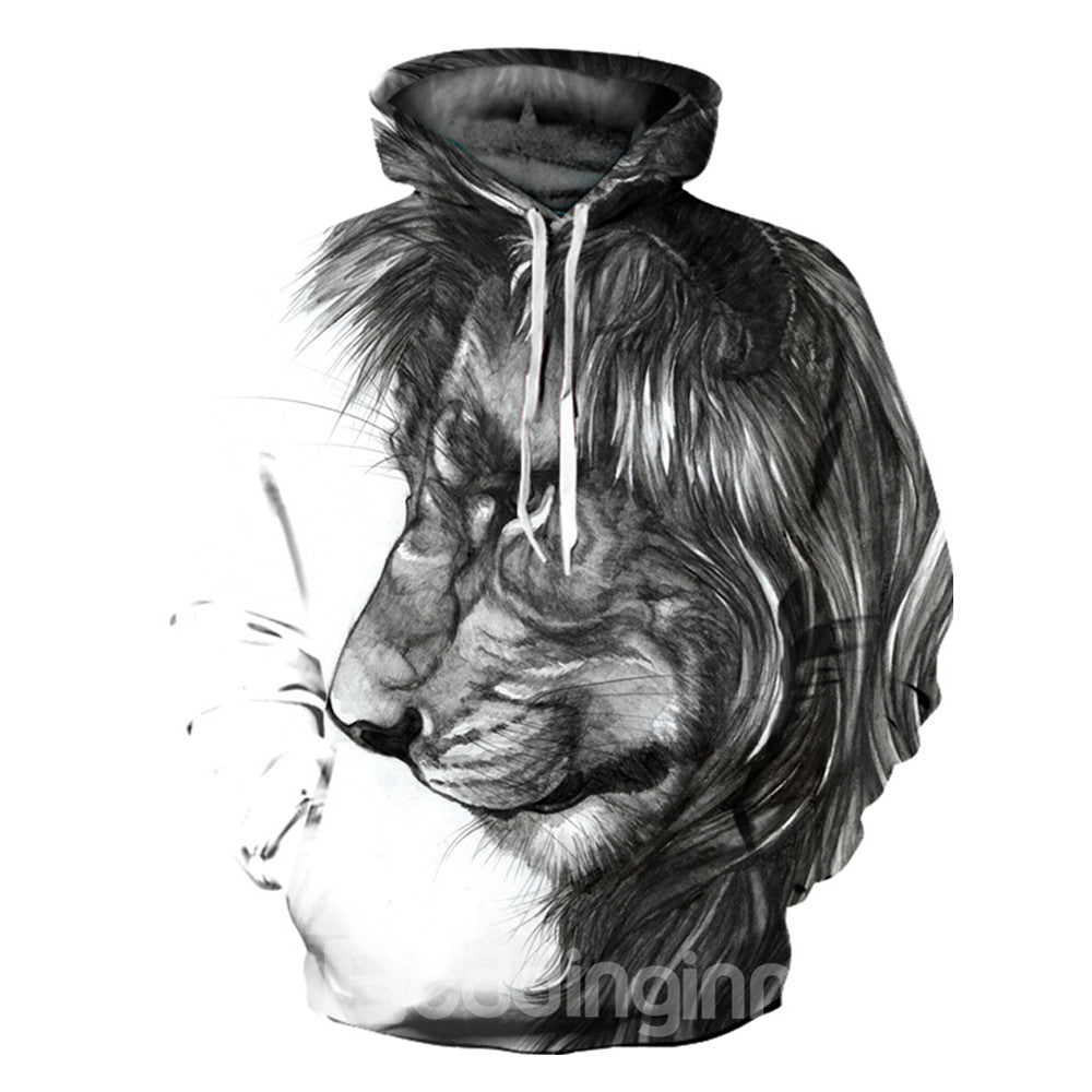 Sweat-shirt 3D à Capuche Imprimé Lion Contemplant