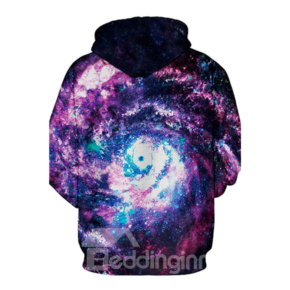 Coloré Sweat-shirt A Capuche Galaxie Violet 3D Imprimé