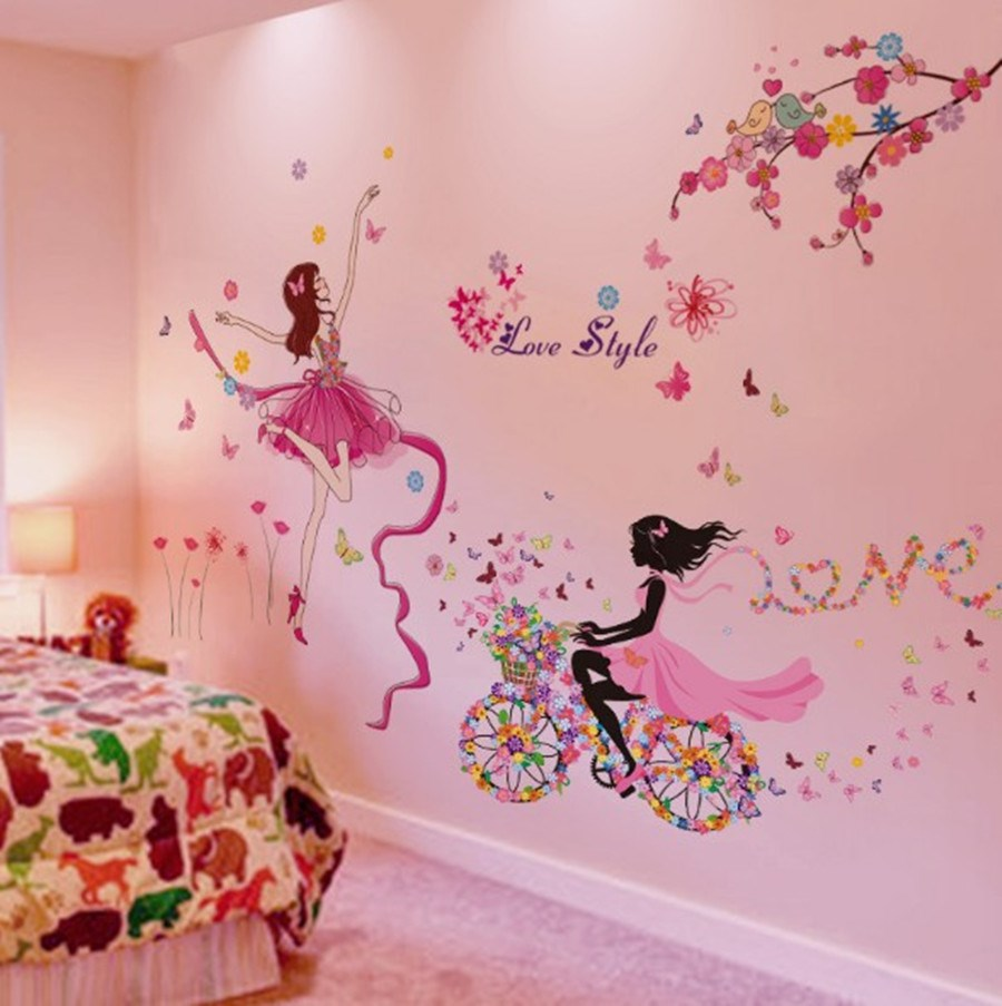 Moderne Wall Stickers Papillon Wall Decorations PVC Belle Fille Magnifique