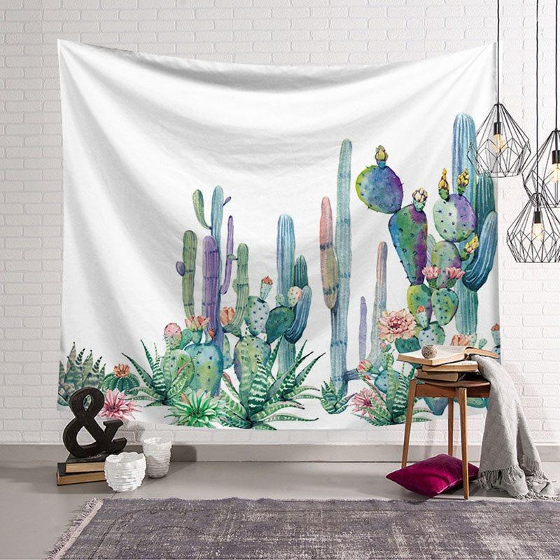 Cactus Tapestry Watercolor Printed Nature Plant Tapestry