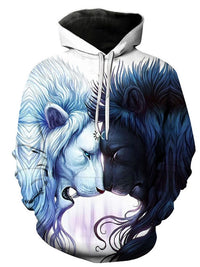 Sweat-shirt Homme Animal Pull-Over 3D Lâcheté Capuchon