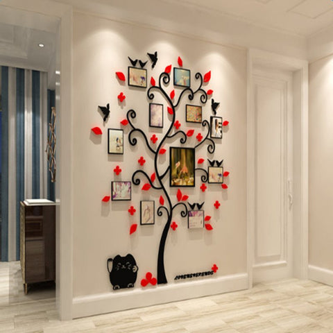 H175cm Grand Sticker Adhésif Mural Cadre Photo DIY Design D'arbre Pour Salon