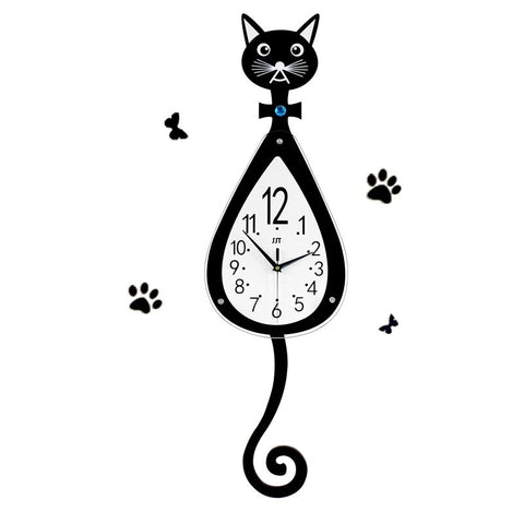 Technique Horloge Murale Montre Prêt à Poser Muet Design De Chat Noir