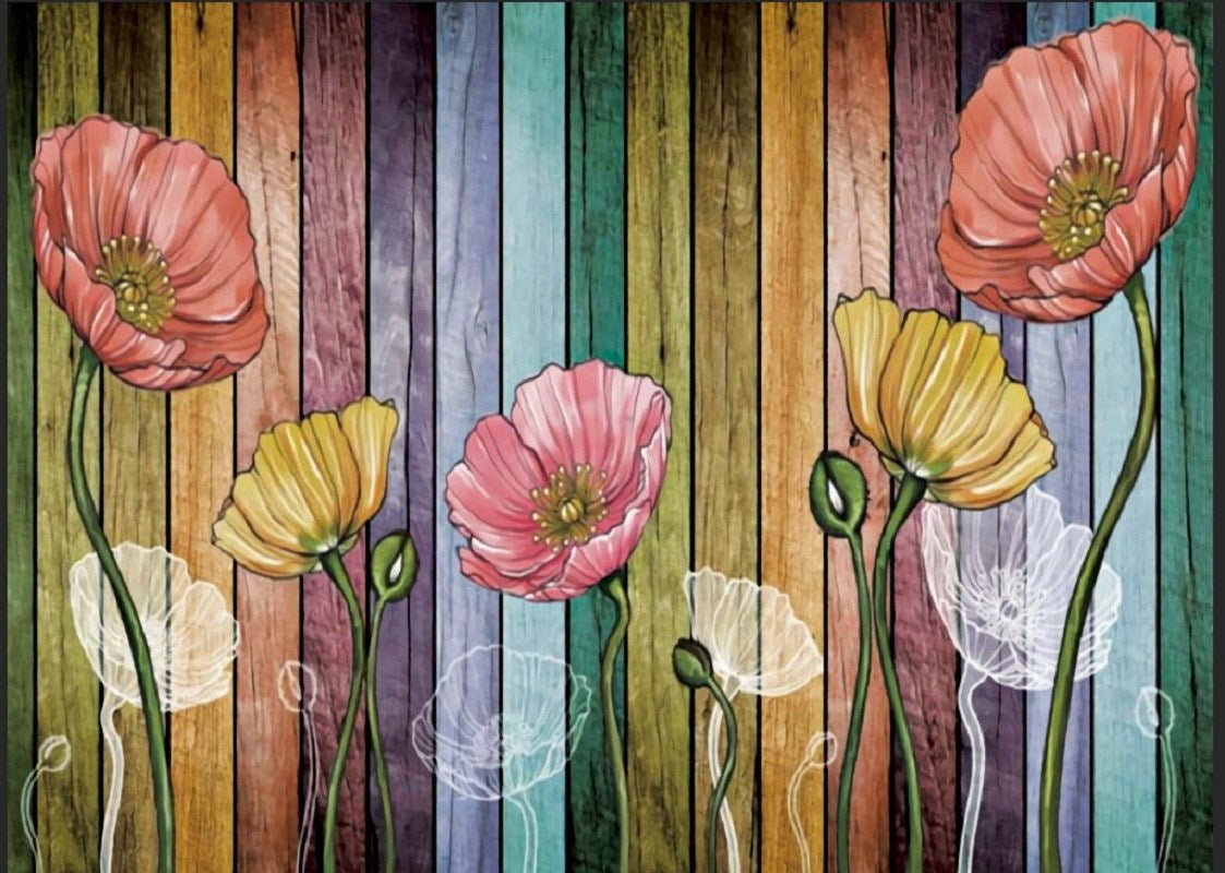 "Retro Wood Plank Flower Colorful Tapestry Wall Hanging for Livingroom Bedroom Dorm Home Decor W79"" x L59"""