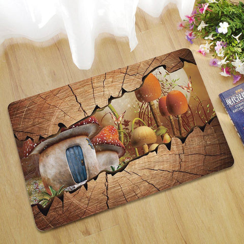 Family Decorative Funny Doormats Cartoon Scene Anti Slip Entrance Door Pad