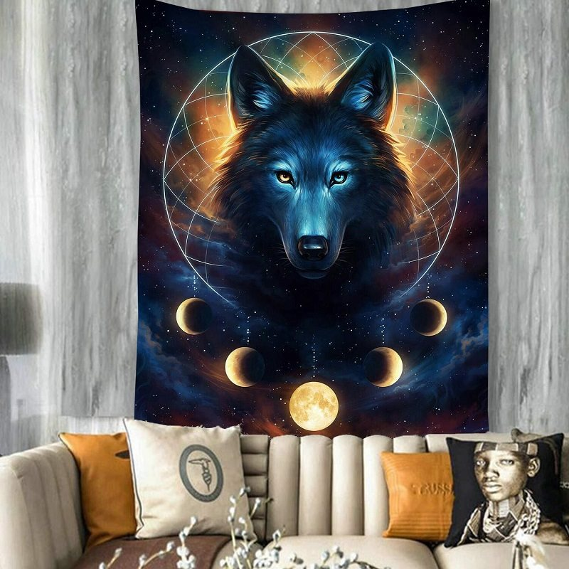 Fantasy Wolf Head with Starry Sky Planet Hanging Bedroom Living Room Dorm Landscape Wall Hanging Decor Tapestry