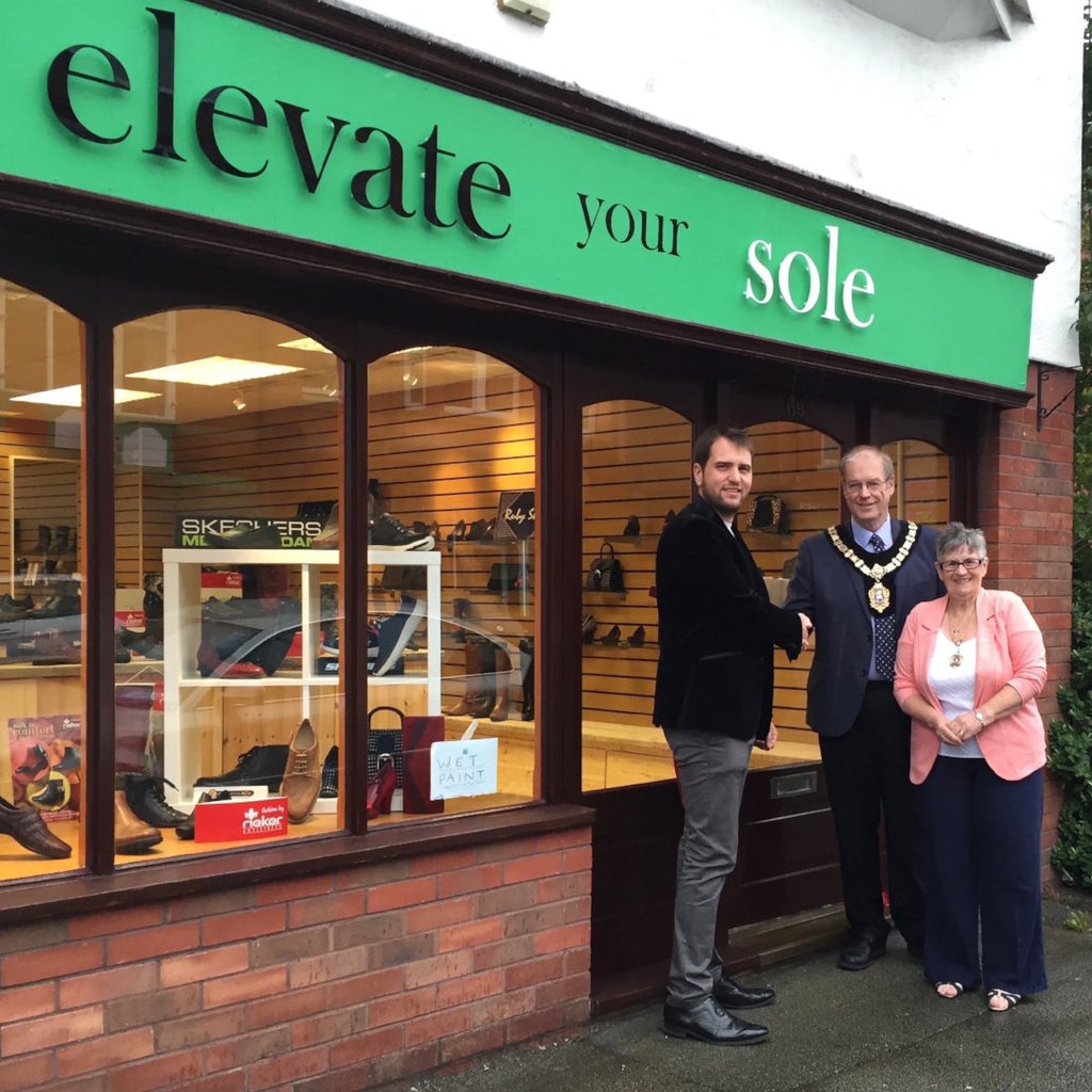 Rhos on Sea shoe shop opening with mayor