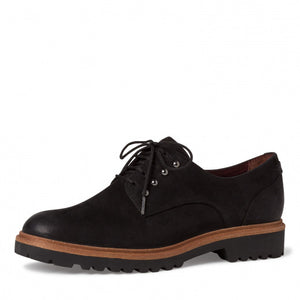 Tamaris 23722-25 Ladies Black Nubuck Leather Lace Up Shoes