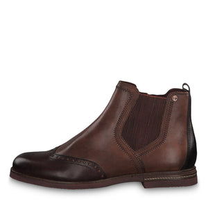 Tamaris 25027-23 Chestnut Combi Brown Leather Ankle Chelsea Boots