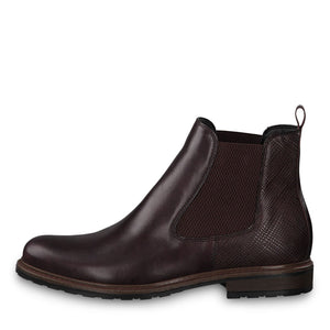 Tamaris 25056-23 Bordeaux Leather Ankle Chelsea Boots