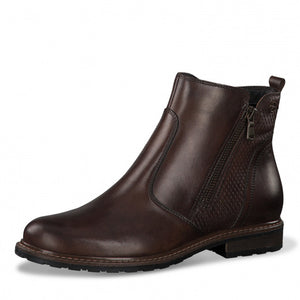 Tamaris 25058-25 Ladies Muscat Brown Leather Ankle Boots