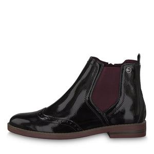 Tamaris 25313-23 Black Purple Patent Chelsea Ankle Boots