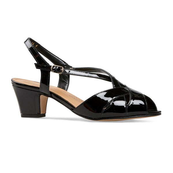 Van Dal Libby II Black Patent Leather Evening Sandals