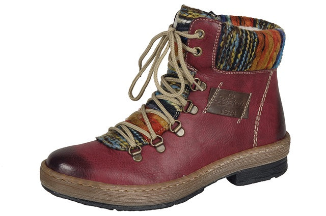 Rieker Z6743-35 Ladies Red Lace & Zip Boots