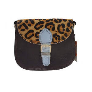 Soruka 047271 Black Light Blue Jaguar Leather Shoulder Bag