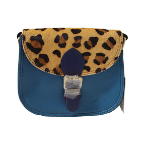 Soruka 047271 Blue Combi Leopard Print Leather Shoulder Bag