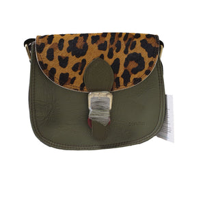 Soruka 047271 Earth Green Combi Leopard Print Leather Shoulder Bag