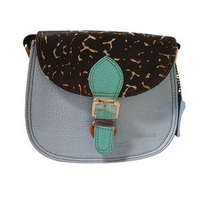 Soruka 047271 Light Blue Combi Black Animal Print Leather Shoulder Bag