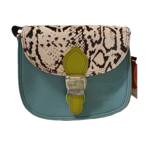 Soruka 047271 Light Blue Green Snake Print Leather Shoulder Bag