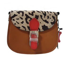 Soruka 047271 Light Brown Red White Animal Print Leather Shoulder Bag