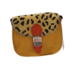 Soruka 047271 Mustard Yellow Orange Leopard Print Leather Shoulder Bag