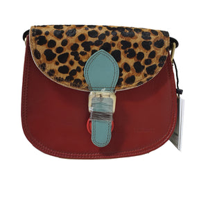 Soruka 047271 Wine Red Blue Leopard Print Leather Shoulder Bag