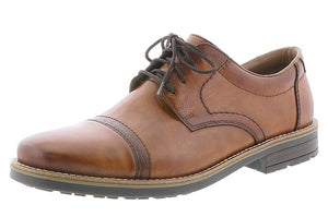 Rieker 13210-23 Mens Wider Fitting Smart Brown Leather Lace Up Shoes - elevate your sole