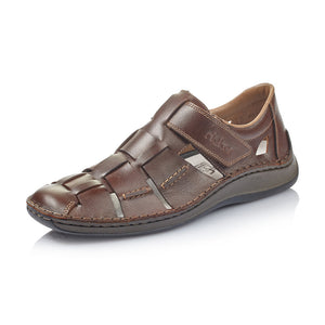 Rieker 05273-25 Brown Leather Extra Wide Hook and Loop Shoes