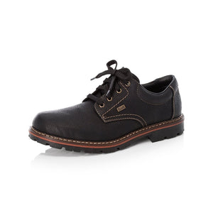 Rieker 17710-00 Mens Wide Black Leather Lace Up Shoes